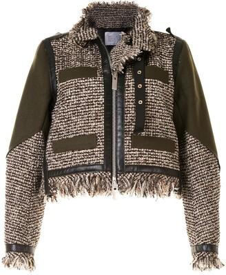 Sacai Tweed Panelled Jacket
