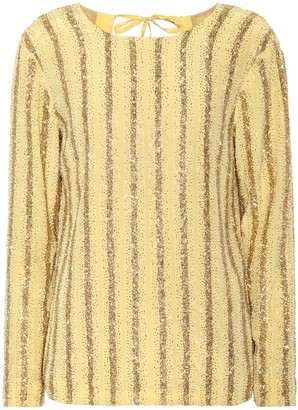 Dries Van Noten Beaded stripe silk top