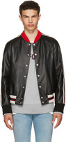 Gucci Black Leather 'Hollywood' Bomber Jacket