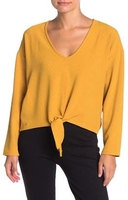 ASTR the Label Front Tie Long Sleeve Blouse