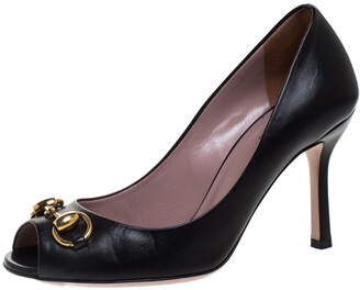 Gucci Black Leather Horsebit Peep Toe Pumps Size 35