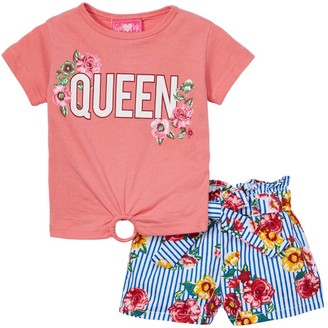 Girls Luv Pink Girls' Casual Shorts peach - Peach 'Queen' Ring-Accent Tee & Blue Floral Shorts - Infant, Toddler & Girls