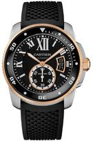 Cartier Calibre De W7100055 Men's Black Rubber and Stainless Steel Automatic Watch