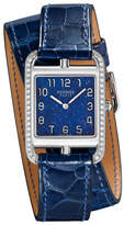 Hermes Cape Cod GM Watch with Alligator-Embossed Leather Strap, Navy