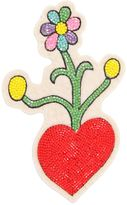 Olympia Le-Tan Heart & Flowers Beaded Pin