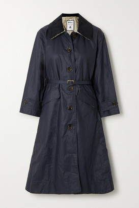 Barbour Alexachung Mildred Corduroy-trimmed Waxed Linen And Cotton-blend Trench Coat - Navy