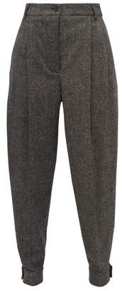 Burberry Belted-ankle Wool-blend Tapered Trousers - Womens - Dark Grey