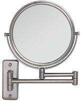 Zadro Two Sided Dual Arm Wall Mount Mirror, Satin Nickel, 5X-1X