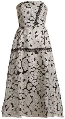 Roland Mouret Lydney Leopard-brocade Dress - Womens - Silver