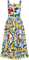 Dolce & Gabbana Majolica-print frilled-hem dress