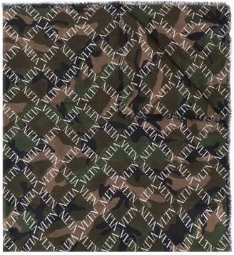 Valentino Camouflage Logo Grid Print Scarf