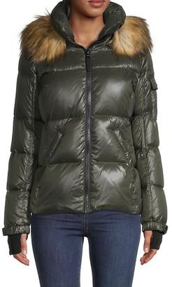 S13 Allie Faux Fur-Trim Hooded Puff Jacket