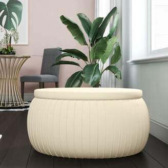 CosmoLiving by Cosmopolitan Sapphire Round Storage Ottoman CosmoLiving by Cosmopolitan Upholstery Color: Cream
