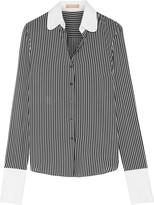 Michael Kors Poplin-trimmed Striped Silk Crepe De Chine Shirt - Navy