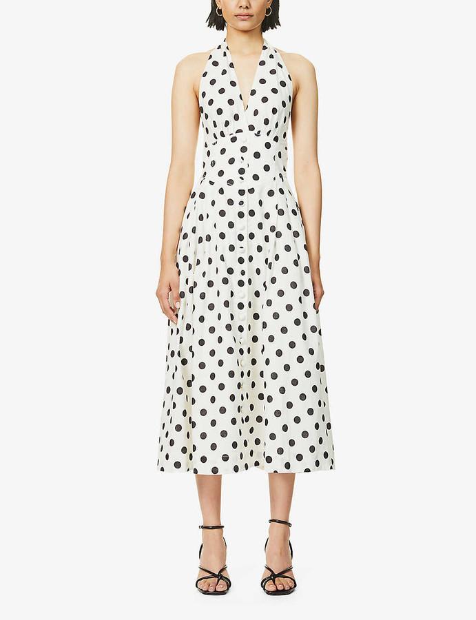 Zimmermann Polka dot-print halterneck linen and cotton-blend midi dress