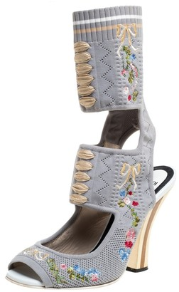 Fendi Grey Knit Fabric Flower Embroidered Cutout Open Square Toe Sandals Size 40