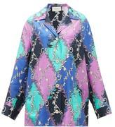 Gucci GG Rhombus-print Silk-faille Shirt - Womens - Purple Multi