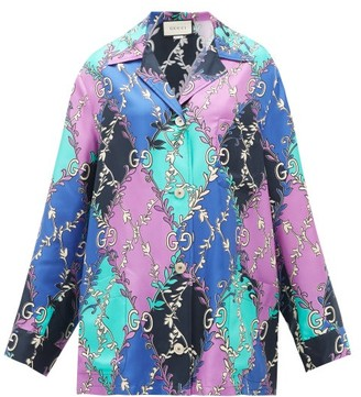 Gucci GG Rhombus-print Silk-faille Shirt - Womens - Purple Multi