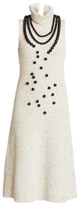 Loewe Embellished Sleeveless Rib-Knit Midi Dress