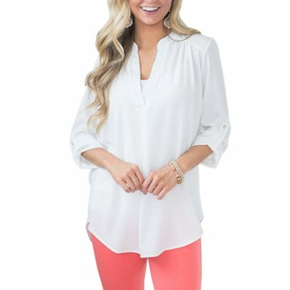 Kalorywee Women Tops KaloryWee Womens Going Out Tops Sexy V-Neck Blouse Cuffed Sleeve Long Sleeve Solid Casual Shirts Tops White