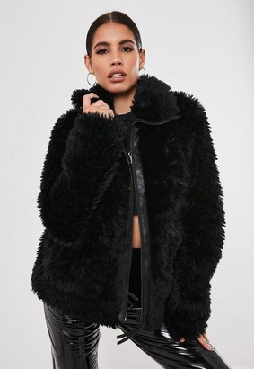 Missguided Tall Black Teddy Borg Oversized Jacket