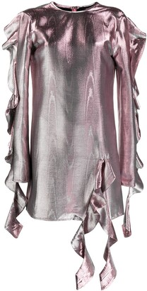 Ellery Ruffled Metallic Effect Dress