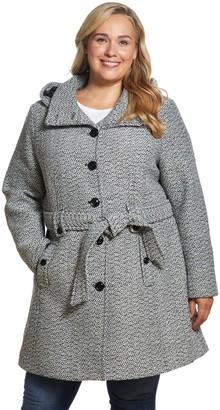 Gallery Plus Size Hood Belted Wool Coat