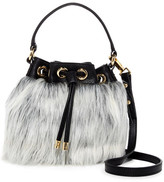 Milly Faux Fur & Leather Small Drawstring Shoulder Bag