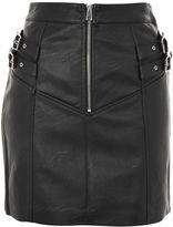 Topshop PETITE Double Buckle Zip A-Line Skirt