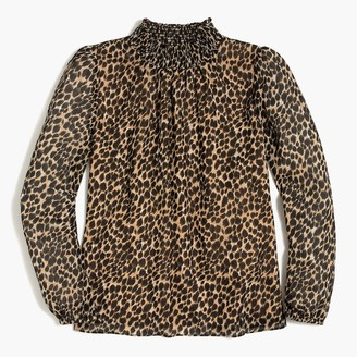 J.Crew Leopard long-sleeve mockneck top