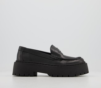 Office Flair Chunky Loafers Black Leather