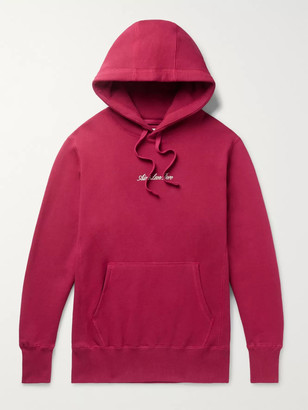 Aimé Leon Dore Slim-Fit Logo-Embroidered Loopback Cotton-Jersey Hoodie - Men - Burgundy
