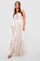 boohoo Boutique Ali All Lace Plunge Neck Maxi Dress