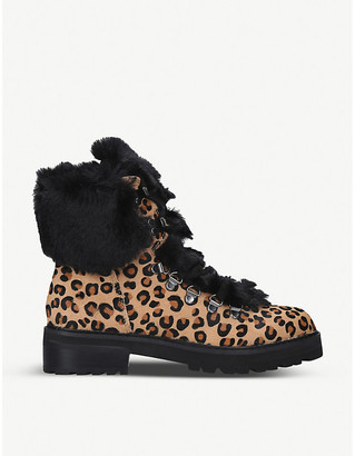 Aldo Narcia leather and faux-fur hiking boots