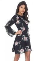 AX Paris Black Bell Sleeve Floral Skater Dress