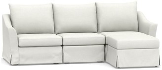 Pottery Barn Brady Slope Arm Slipcovered 4-Piece Sectional with Chaise