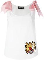 DSQUARED2 ribbon-tie shoulder camisole - women - Cotton/Polyester/Viscose - 42