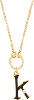 Foundrae Black Diamond Point Initial On Annex Link Necklace