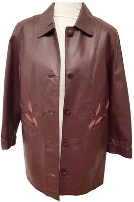 Non Signé / Unsigned Non Signe / Unsigned Purple Leather Coat for Women