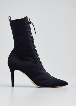 Gianvito Rossi 85mm Stretch Lace-Up Stiletto Booties