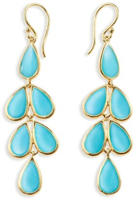 Ippolita 18kt yellow gold Polished Rock Candy Teardrop Linear Cascade turquoise earrings