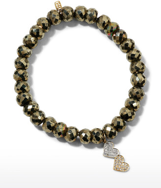 Sydney Evan 8mm Champagne Pyrite Beaded Bracelet with Diamond Double Heart Charm