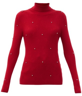 Christopher Kane Crystal-embellished Ribbed Merino-wool Sweater - Red
