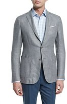 Ermenegildo Zegna Capri Textured Basketweave Two-Button Jacket, Light Gray