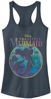 Licensed Character Juniors' Disney's The Little Mermaid Rainbow Title Silhouette Tank