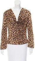 Celine Leopard Print Cowl Neck Top
