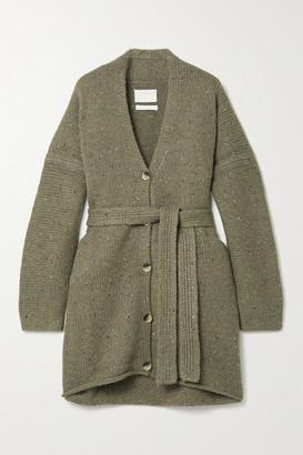 LAUREN MANOOGIAN + Net Sustain Grandpa Belted Melange Merino Wool-blend Cardigan - Army green
