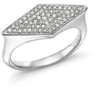 Adina Sterling Silver Pave Diamond Stretched Diamond Signet Ring