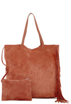 AllSaints Club New Lea Fringe Leather Tote