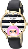 Kate Spade Women's 'Metro' Quartz Stainless Steel and Leather Casual Watch, Color:Black (Model: KSW1259)